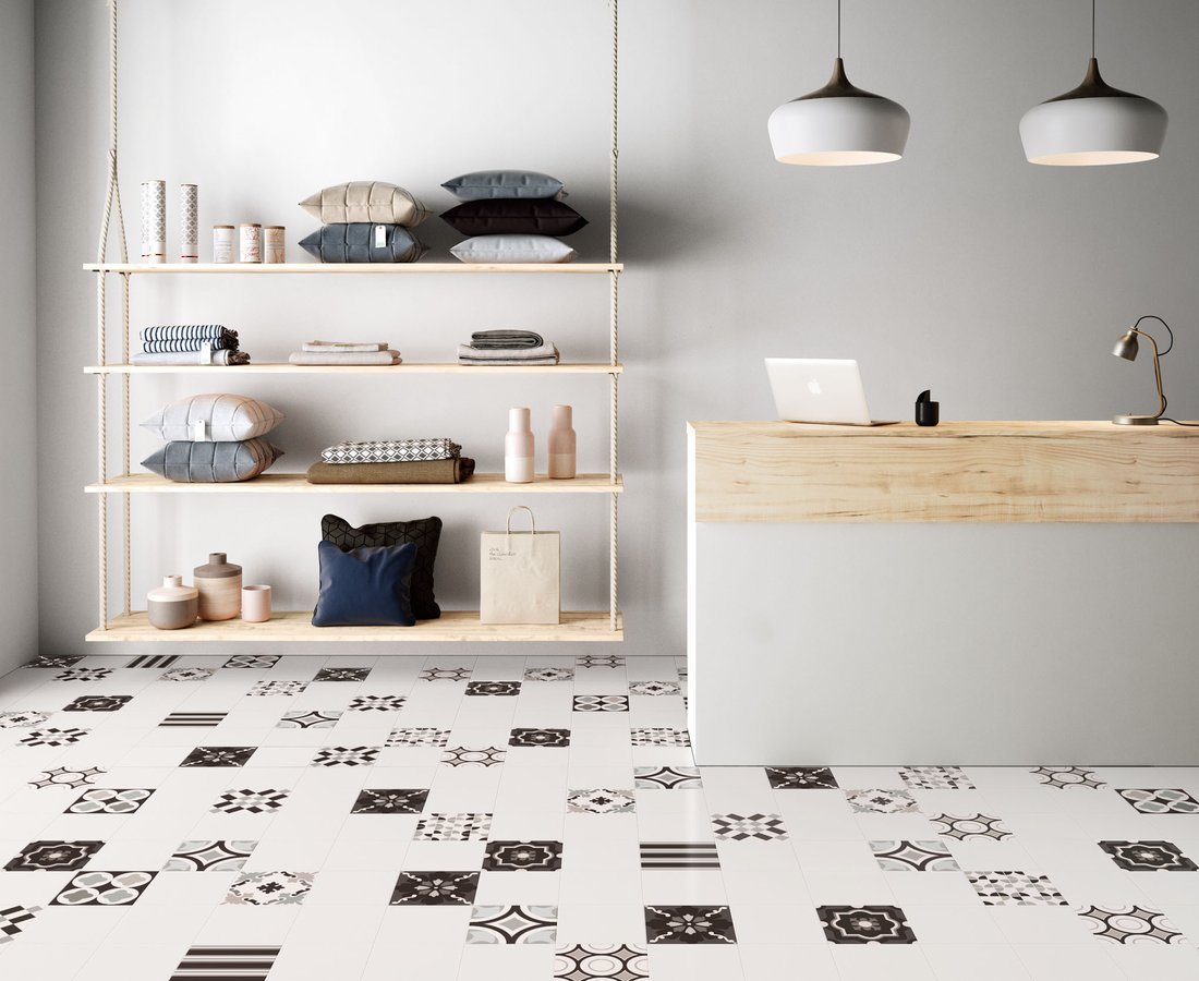 PATCHWORK BLACK&WHITE, White tiles by Ceramica Sant'Agostino