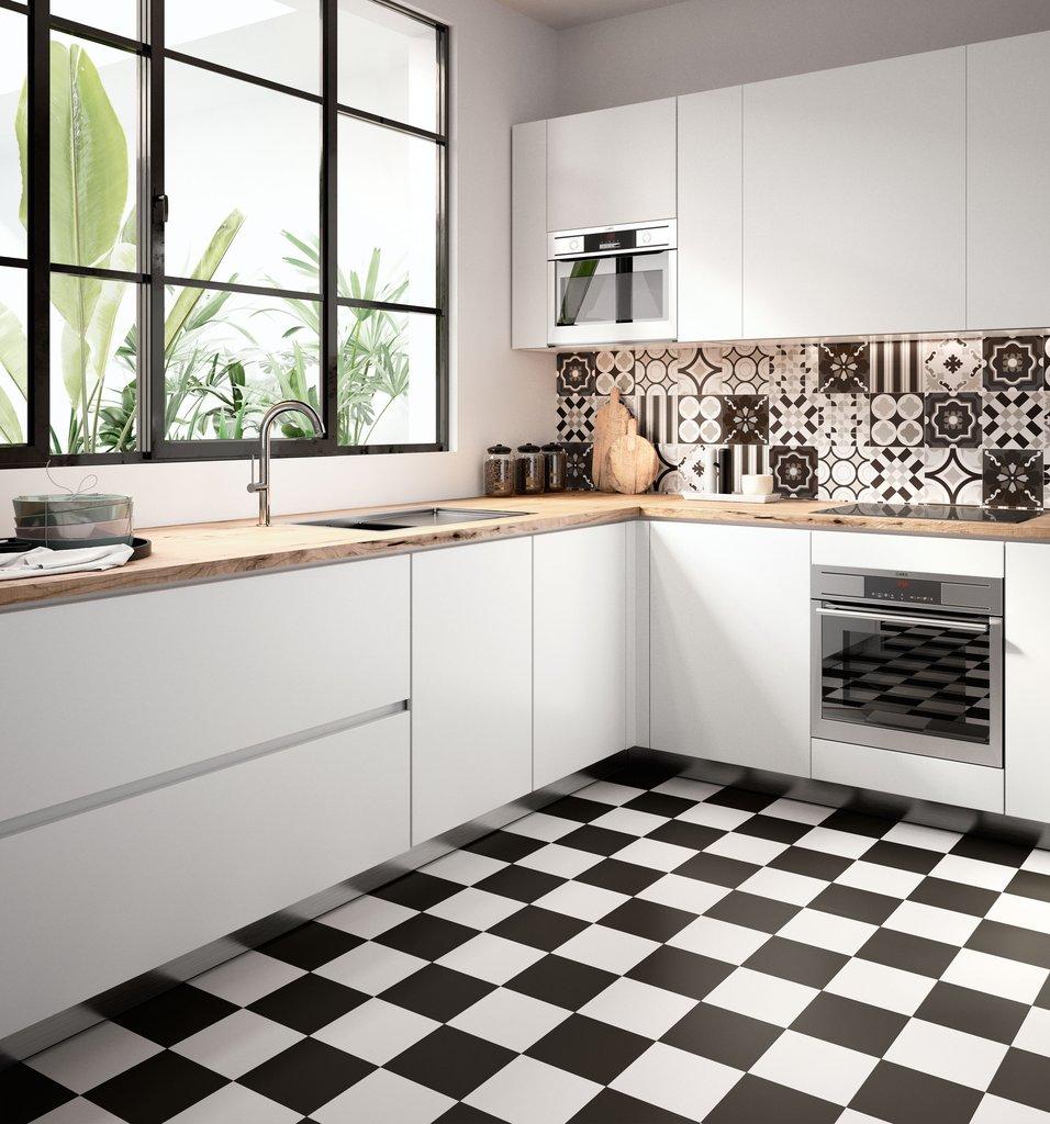 Patchwork Black Amp White Porcelain Stoneware Tiles