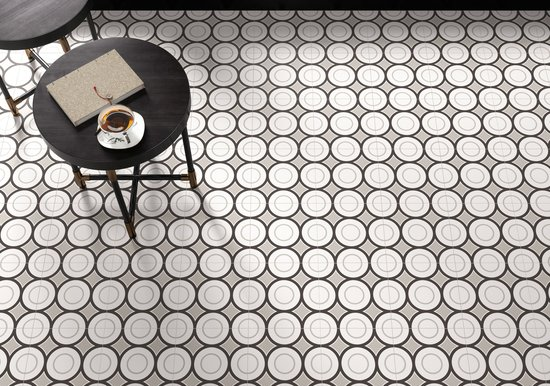 PATCHWORK BLACK&WHITE Porcelain stoneware tiles.