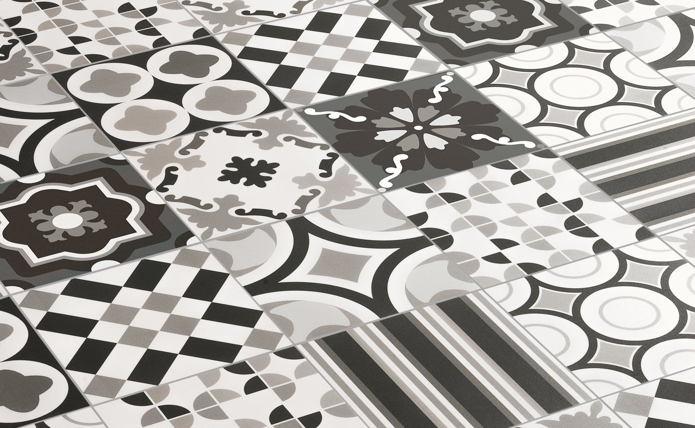 Patchwork blackwhite porcelain stoneware tiles