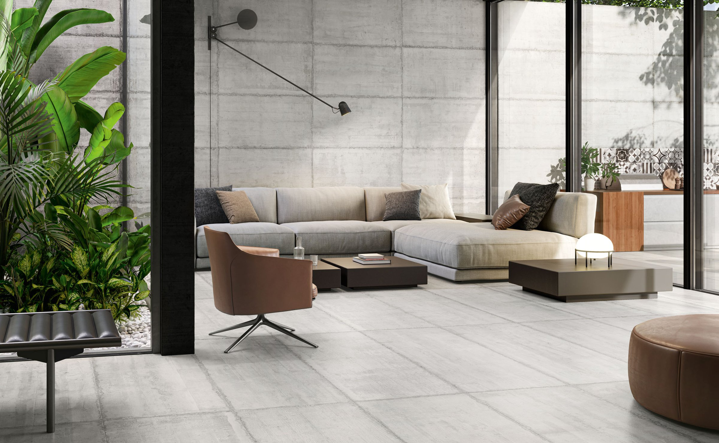 Form: concrete effect porcelain stoneware