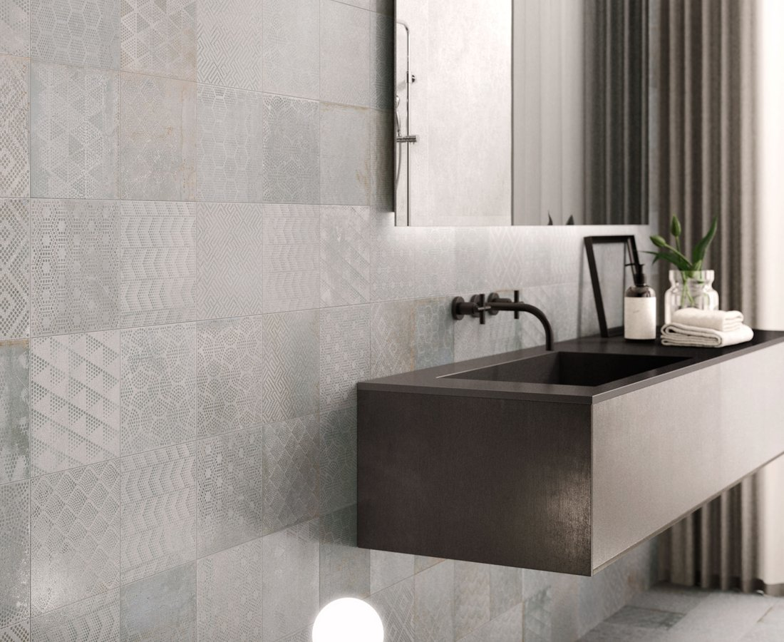 Bagno grigio e bianco effetto pietra idee arredo casa in bianco nero e grigio per uno stile - Piastrelle pietra bagno ...